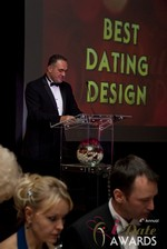 Nick Tsinonis announcing the Best Dating Design at the 2013 iDateAwards Ceremony in Las Vegas