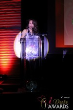Carmelia Ray announcing Best Up and Coming Dating Site in Las Vegas at the 2013 Online Dating Industry Awards
